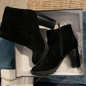 Suede platform heeled ankle boot BCBG